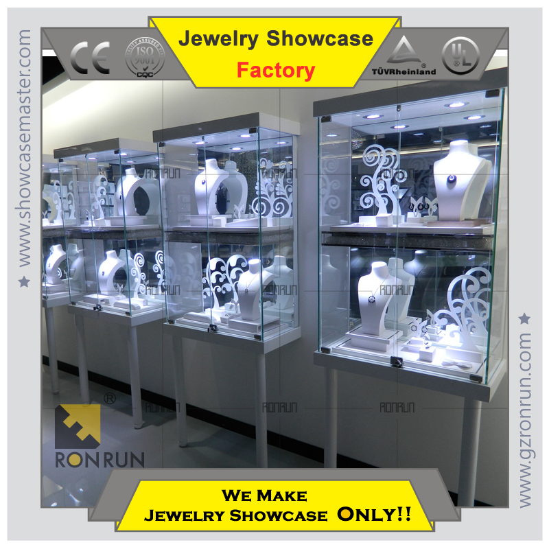 Jewelry Kiosk Showcase Glass Stainless Steel Furniture For