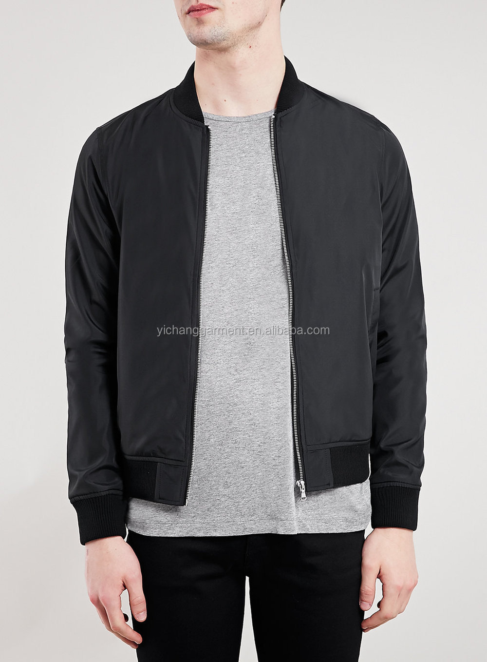Men Black Slogan Print Bomber Jacket,Short Style - Buy Men Black ...