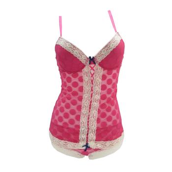 33ccc7db31 Customized Fancy Nylon Young Ladies Polka Dot Cute Mesh Babydoll Set ...