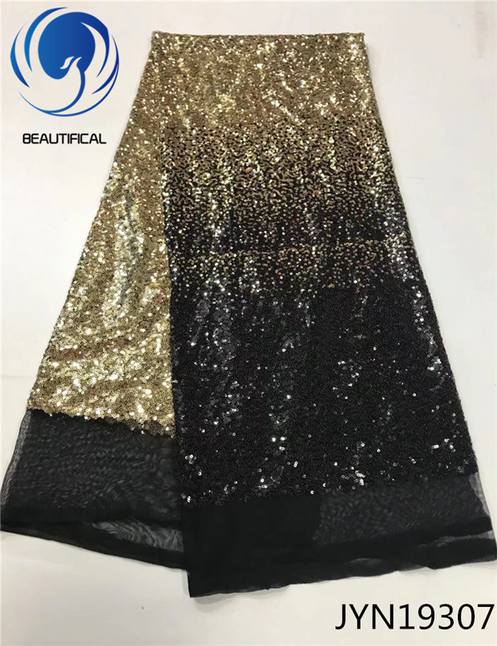 Beautifical Black & gold Sequins net lace french fabric 2017 Popular nigerian tulle mesh lace fabric women dress 5yards JYN193