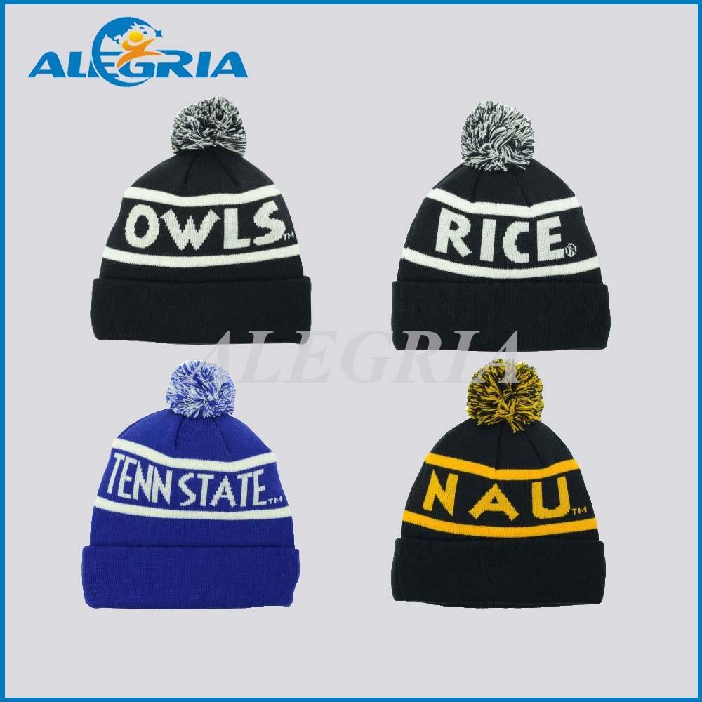 Custom Acrylic Jacquard Pom Beanies Winter Knitted Hat