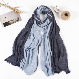 Women Men Double Color Cotton Stripe Scarf Japan South Korea Crinkle Crumple Shawls Hijab Muslim Wraps Tassel Scarf