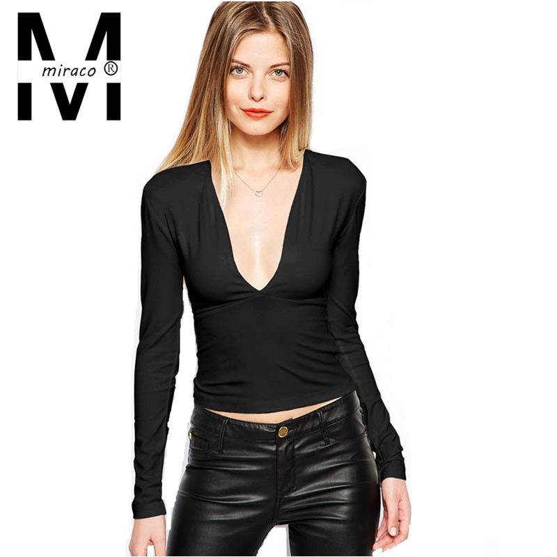 Buy Lady Solid Black And White Slim T-Shirt Women Long Sleeve T ...