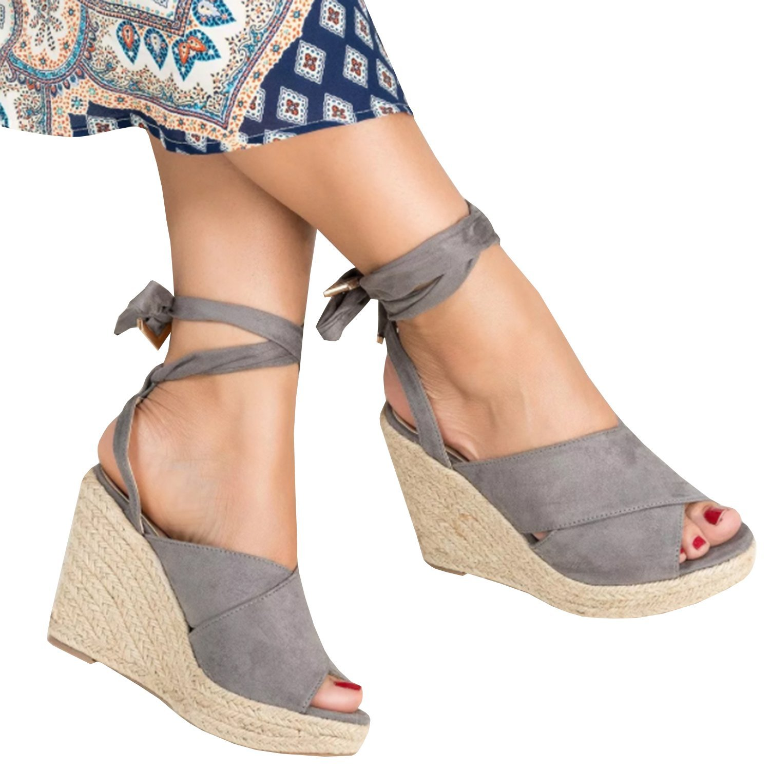 fb549e59b3bd Get Quotations · Enjoybuy Womens Espadrille Wedge Peep Toe Sandals Summer  Ankle Tie Up Platform Shoes High Heel Sandal