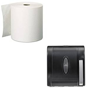 KITGEP28055GEP54338 - Value Kit - Georgia Pacific Two-Ply Premium High-Capacity Roll Towels (GEP28055) and Georgia-Pacific Vista 54338 Black Hygienic Push Paddle Roll Paper Towel Dispenser (GEP54338)