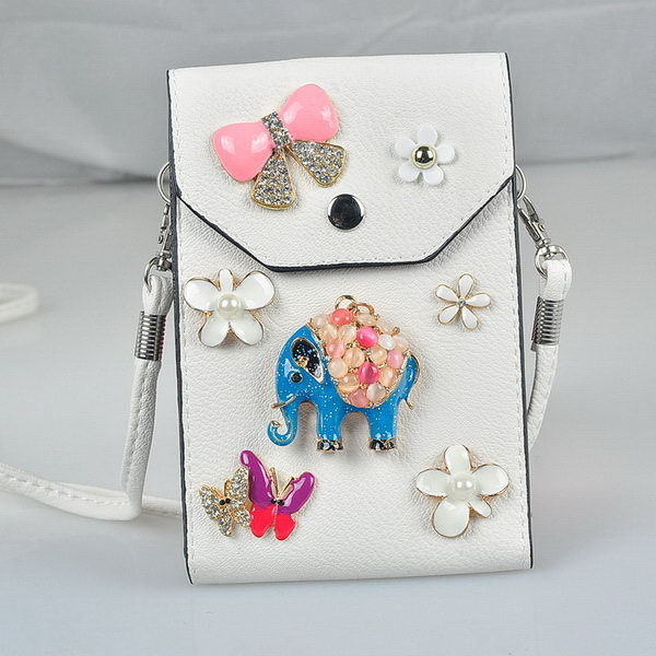 2015 hot sale bule elephant high quality phone pouch with keychain