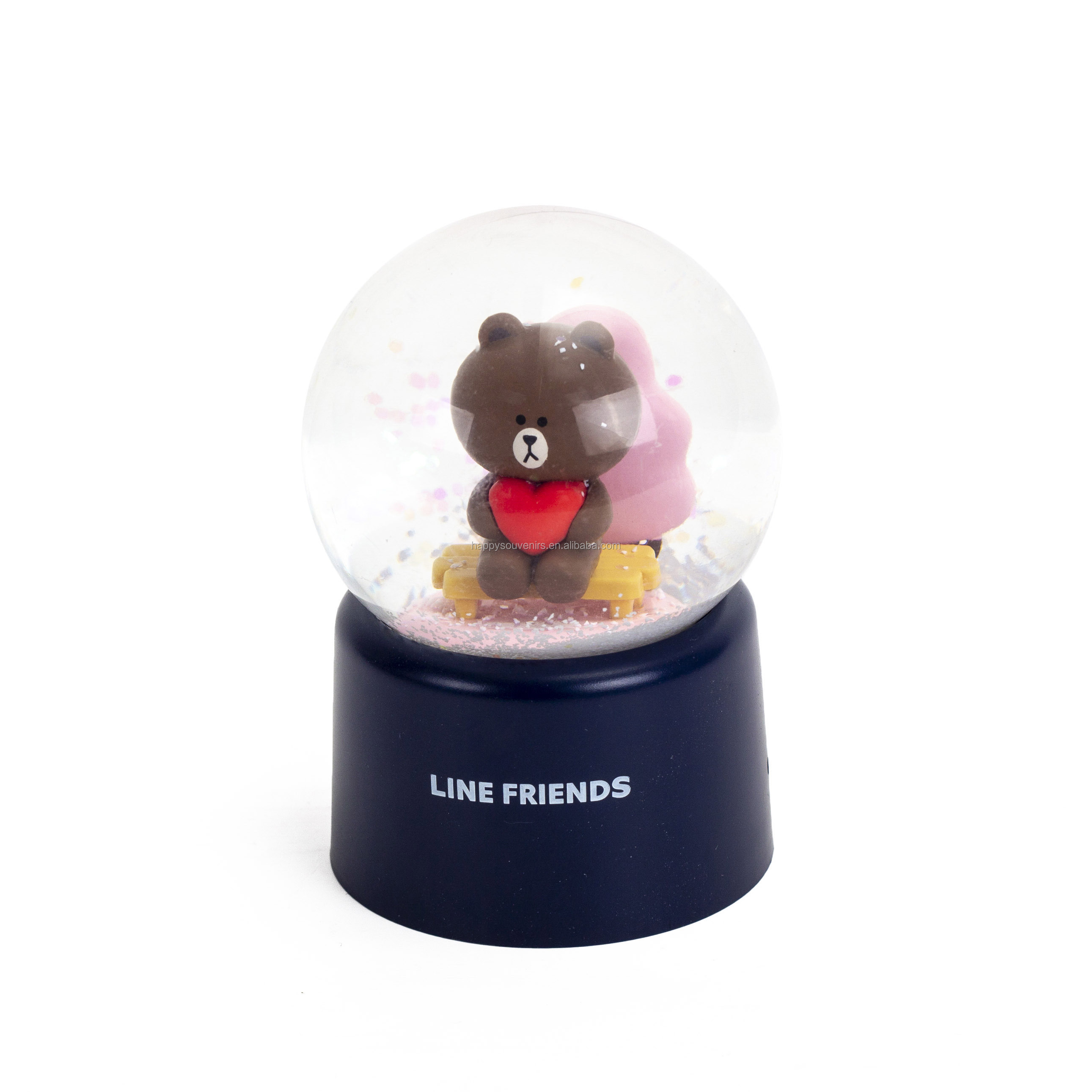 Korea souvenirs cartoon snow globes cute 45mm glass snowball emoji series gifts snow ball