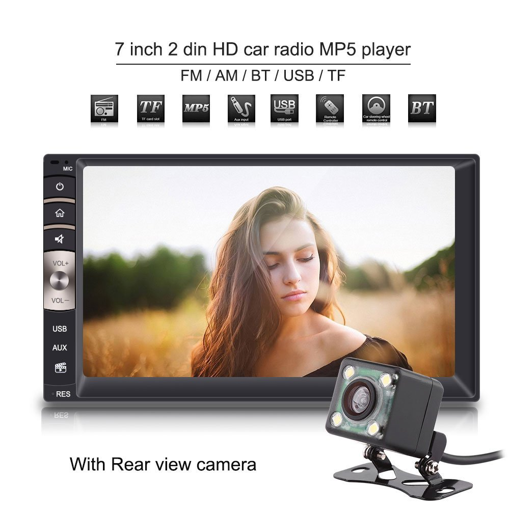 Qiilu 7'' 2Din Car DVD Player Touchscreen Stereo Radio MP5 Player BT/USB/TF/CD/SD/AM/FM Aux Input with Rear View Camera