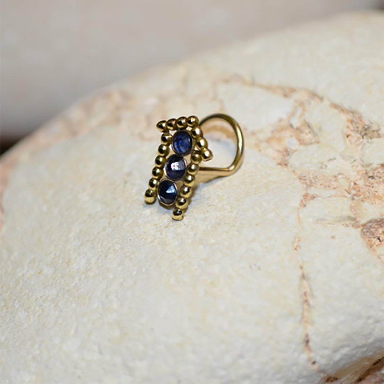 Buy 2mm Sapphire Tragus Stud Gold Nose Stud Tragus Earring Stud