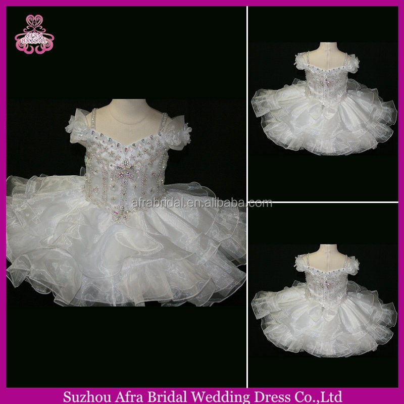 SD566 ivory short organza puffy skirt custom made cheap cupcake pageant dresses
