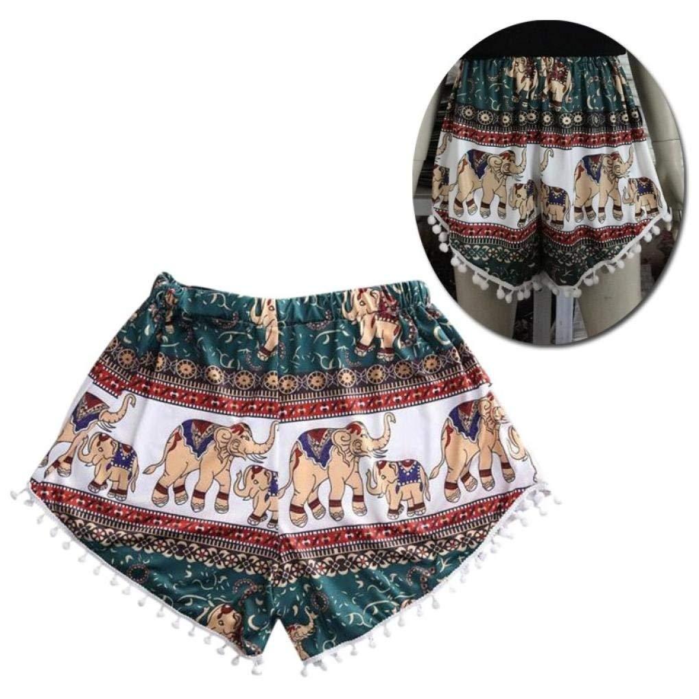 Dreamyth Women Casual Elephant Print Shorts, Fashion Women Sexy Hot Summer Casual High Waist Elephant Print Beach Short Pants