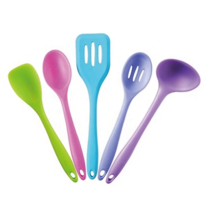 Custom Dishwasher Safe Kitchen Utensil Set Name for 5 pieces Heat Resistant Japanese or Indian Kids Silicone Cooking Utensils