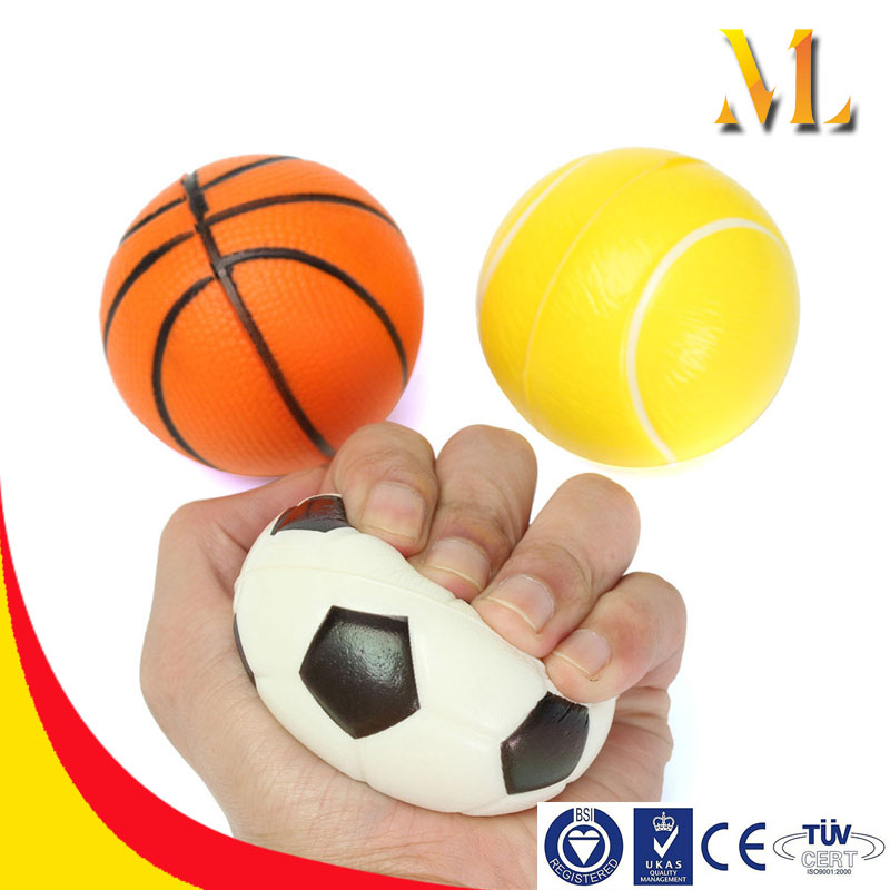 PU Bouncing ball Sport basketball/football Squeeze stress ball hand wrist finger exercise strss relief therapy kids toy ball
