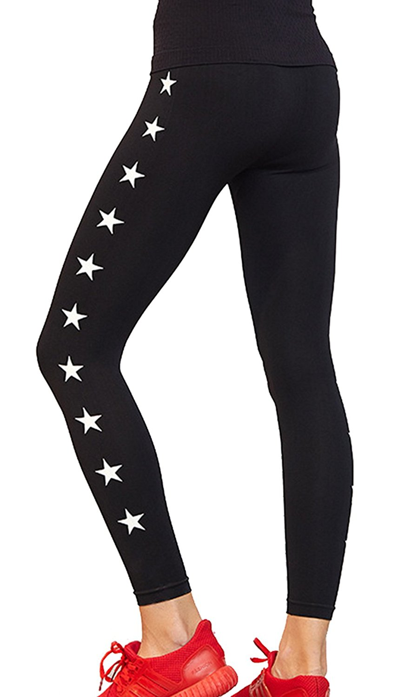 2b13aca29247a Get Quotations · Clothdigger White Stars Printed Black Yoga Leggings  Stretchy Tights Running Sports Yoga Pants