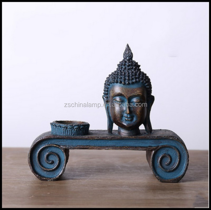 High Quality Resin Old Fashioned Buddha Statue Candle Holder With Unique Shape For Home Decor