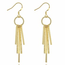 SJAKE070 Top Brand Europe America Style Fashion Brass 18K Gold Plated Multi Bars Saudi Arabia Gold Tassel Hoop Earrings