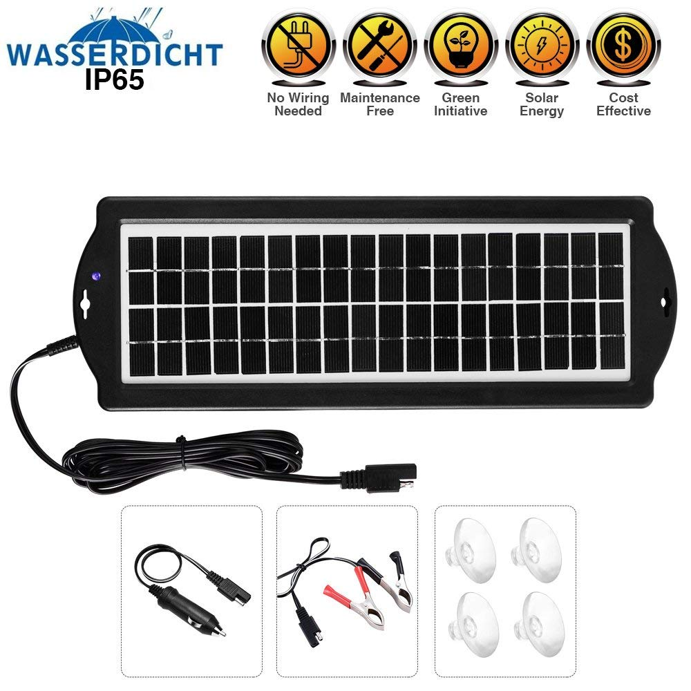 Solar Battery Charger Car, 3.5W 12V Solar Trickle Charger for Car Battery, Portable and Waterproof Solar Battery Maintainer, Amorphous Silicon Solar Panel car battery charger for RV Motorcycle Boat Ma