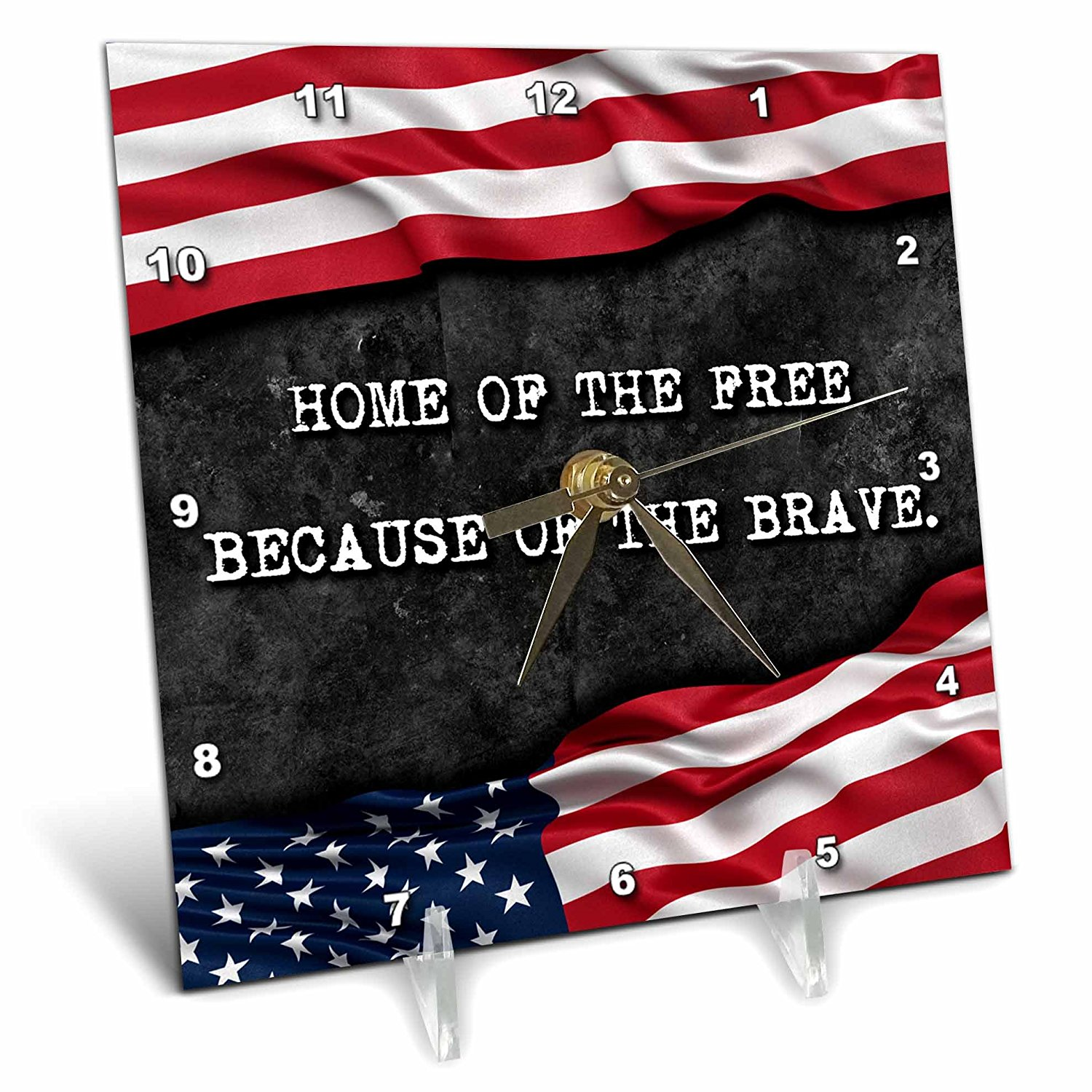 Carsten Reisinger - Illustrations - Home of the free because of the brave. Patriotic quote. - 6x6 Desk Clock (dc_237417_1)
