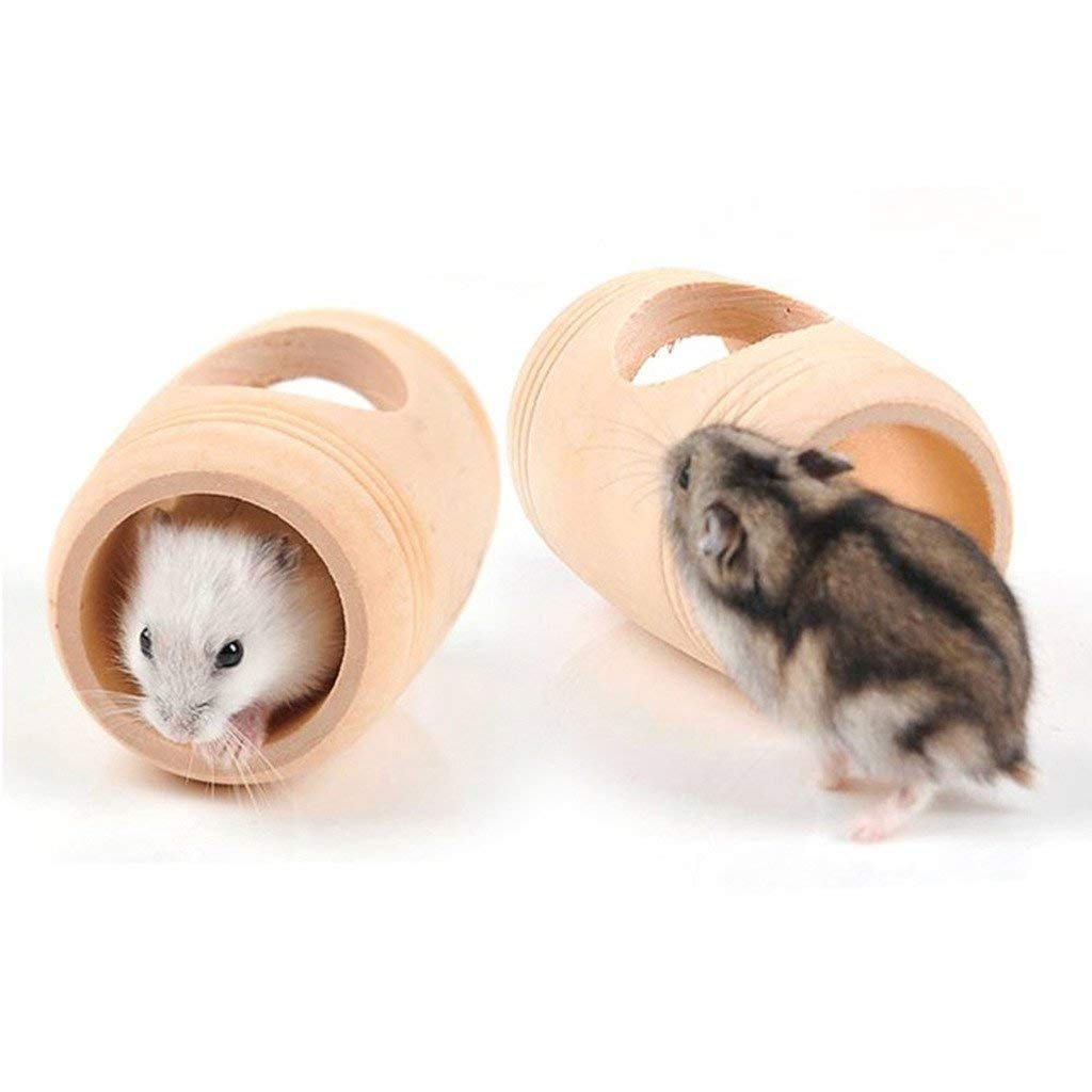 Hamster Cage Accessories,Hamster Toys,Chinchilla Chew Toys,Hamster Hideout House Tube Tunnel Seesaw Platform with Natural Wood for Mouse and Dwarf Hamster Mice