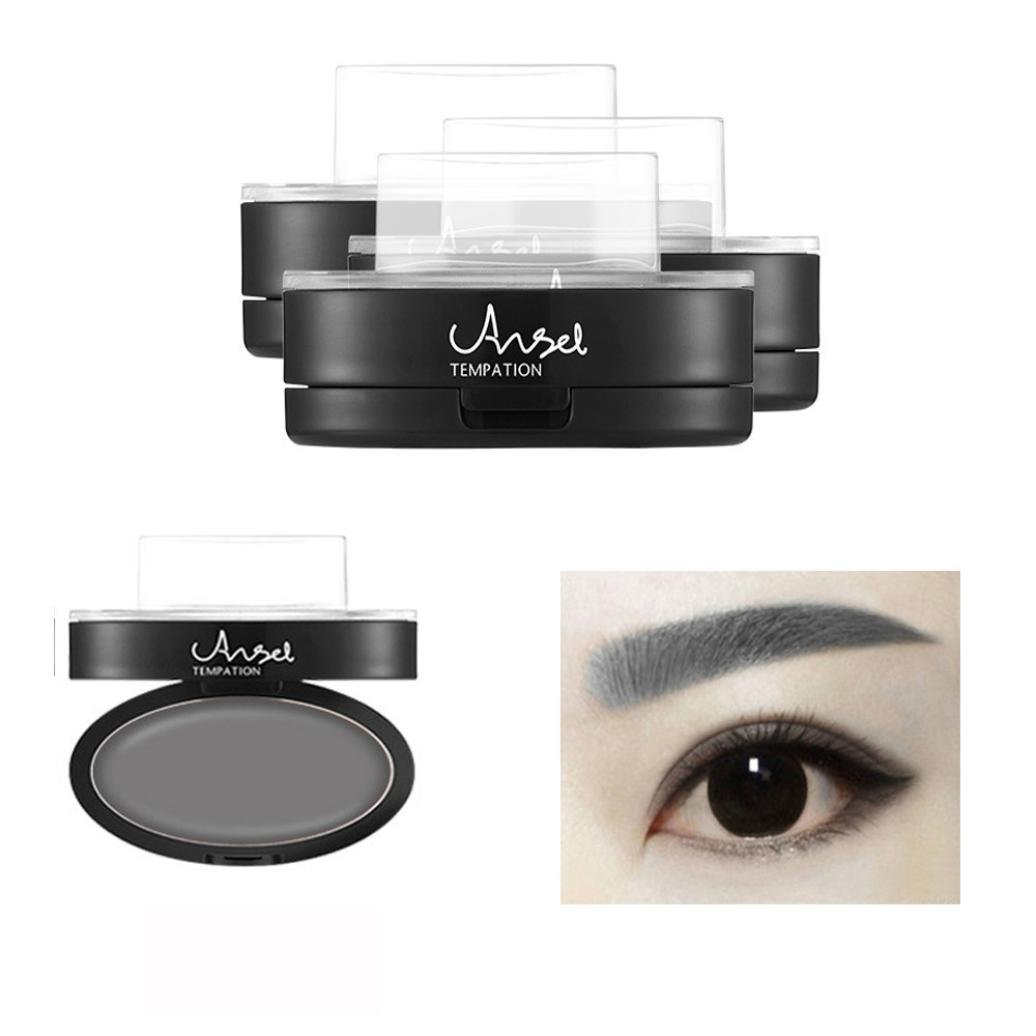2 Type Brow Stamp+ Brow Powder , Fheaven Makeup Brow Stamp Powder Delicated Natural Perfect Enhancer Straight United Eyebrow (Gray)