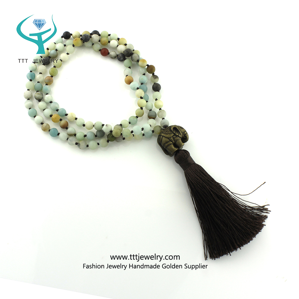 Meditation Necklace Old Jade with gold sheet Mala Buddhist Prayer Mala 108 Beads