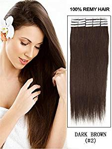 """20 Pcs 16"""" 18"""" 20"""" 22"""" 24"""" Inches Remy Pu Tape Skin Weft 100% Human Hair Extensions 19 Colors (20"""" 50g 20pcs, #2 dark brown)"""
