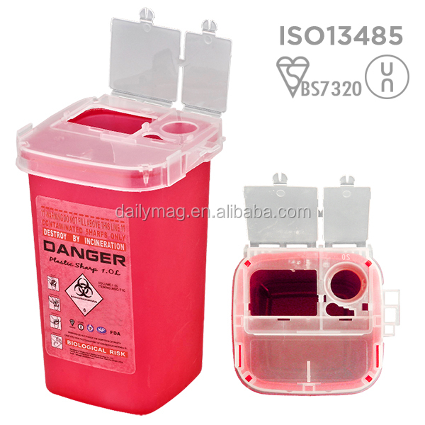 1Liter Factory sale sharps container Medical Needle PP Container
