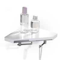 Wall Mounted white ABS Bathroom Corner Shelf Shower Caddy Towel Rack With Robe Hook FF32310