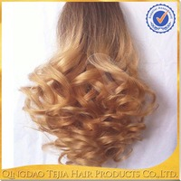 2016 hot products soft two tone ombre color long curly ponytail clip in remy human hair extensions
