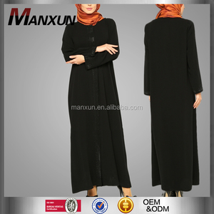 Islamic Clothing 2016 Maxi Dresses Muslim Garment Moroccan Kaftan Traditional Beaded Black Muslim Abaya
