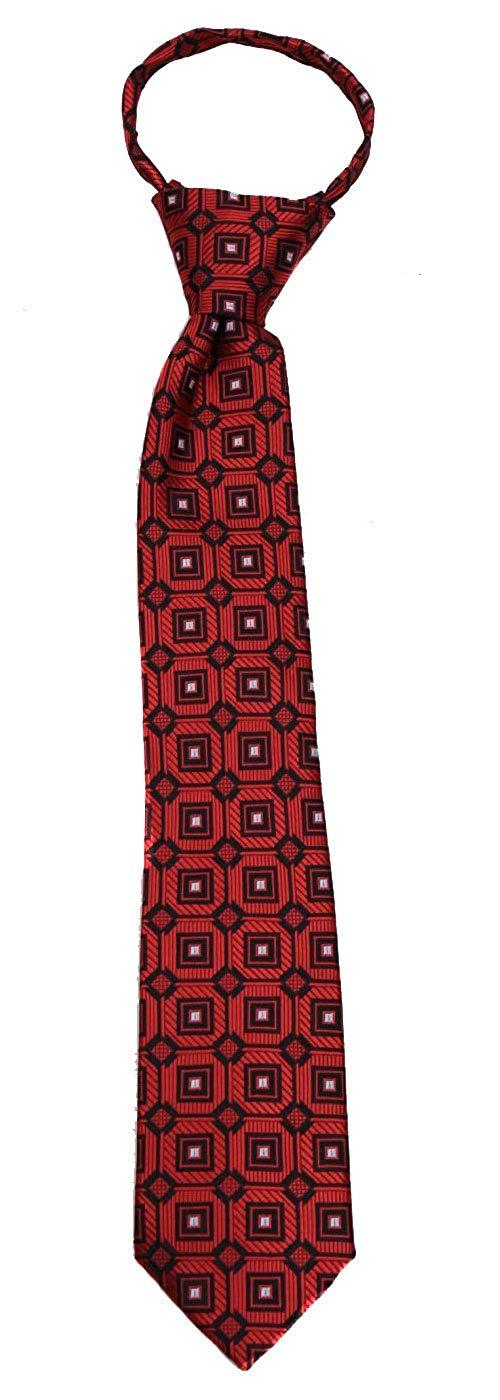 Boys 14 inch Pre Made Pattern Geometrics Fashion Designer Zipper Necktie