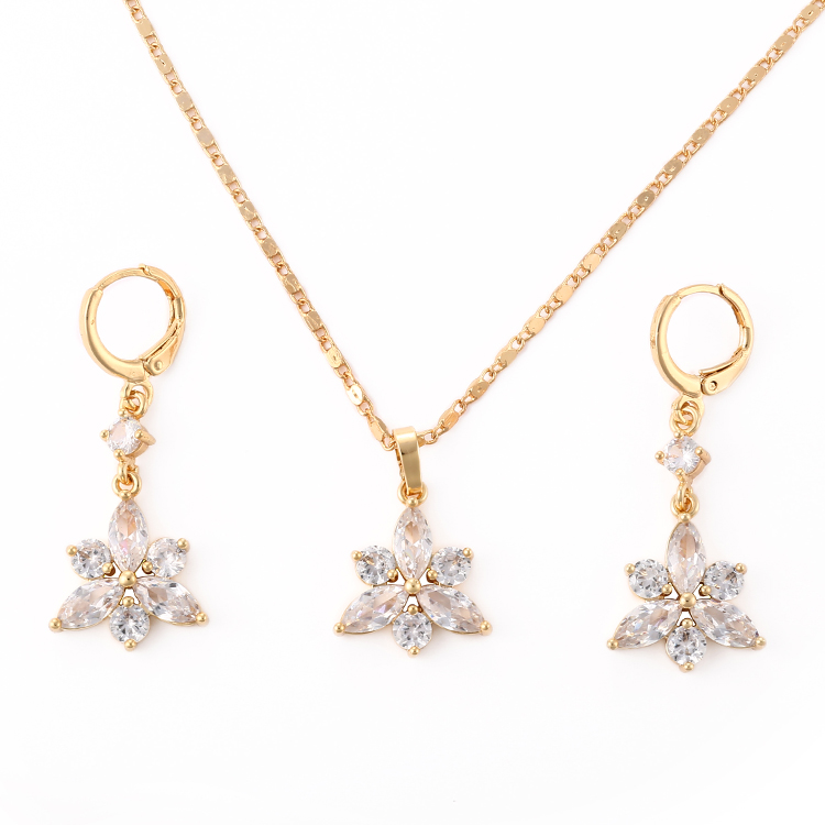 Wholesale New fashion design jewelry artificial american diamond 18K gold plated Pendant,Necklace,earrings jewellery sets