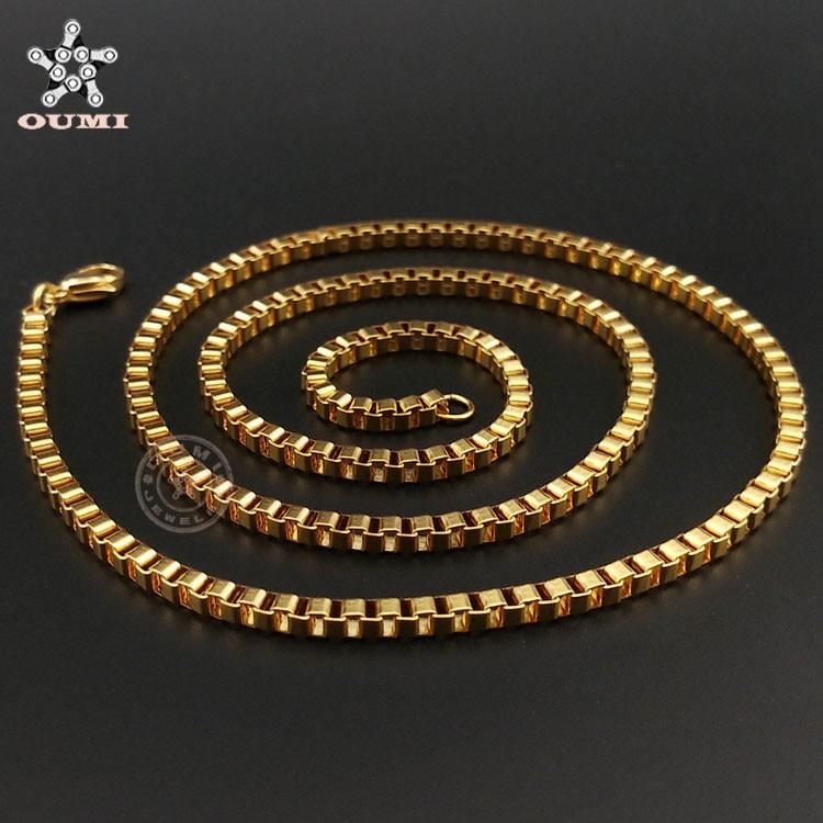 New gold chain design girls Men\'s stainless steel Venice 2mm thin ...