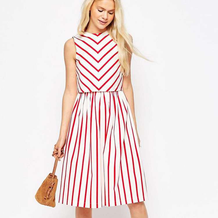 New latest fashion women dresses wholesale , stripe summer midi designer one piece dress