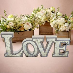 Wooden Love Signs Rustic Home Decorative Wood&Galvanized Standing Cutout Word Table Signs