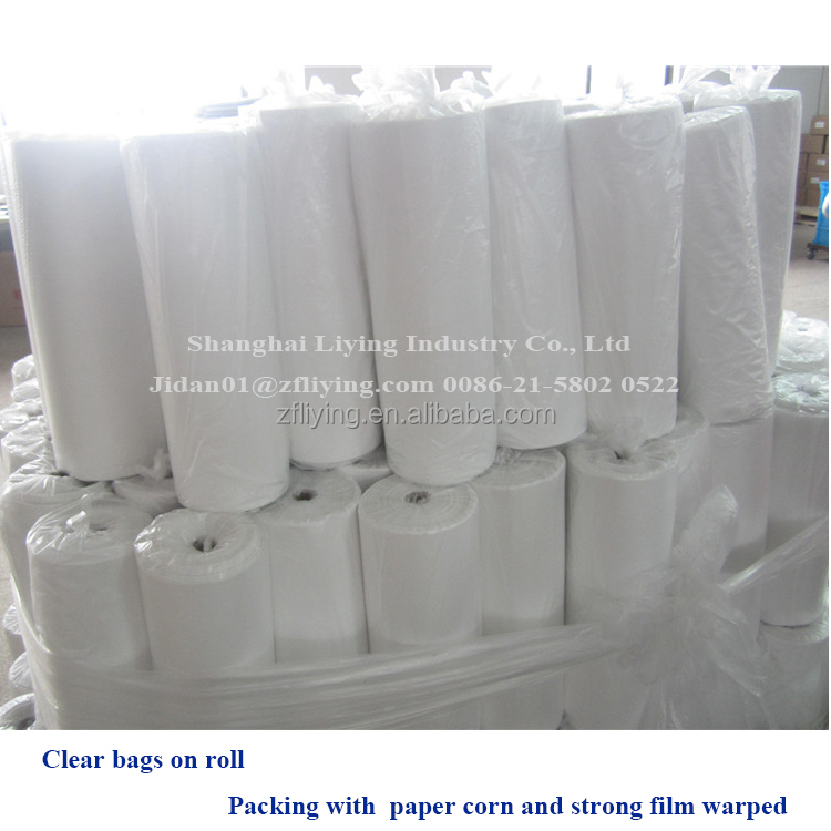 White poly bag on roll, perforated poly tubing on roll