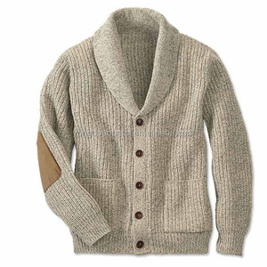 100%wool man cardigan with elbow patch men sweater