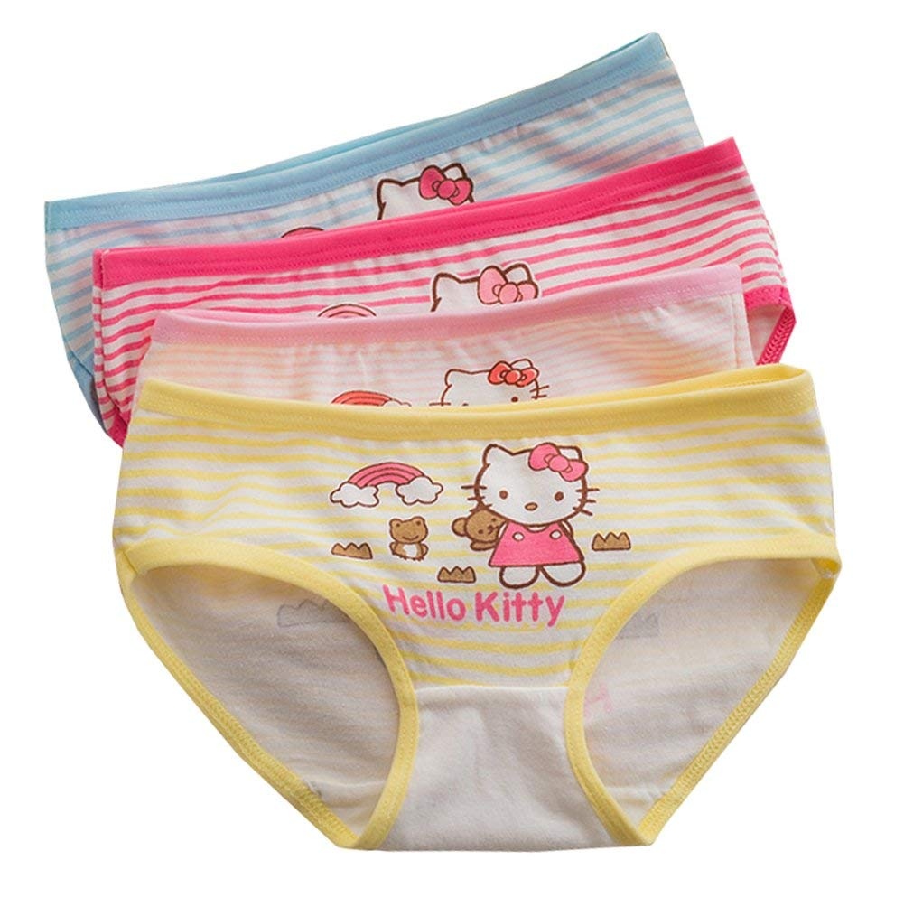 6e55a84c6acc 2-8 Years Old Girls Character Hellokitty Briefs Panties Cotton Striped  Underwear 4 Pack