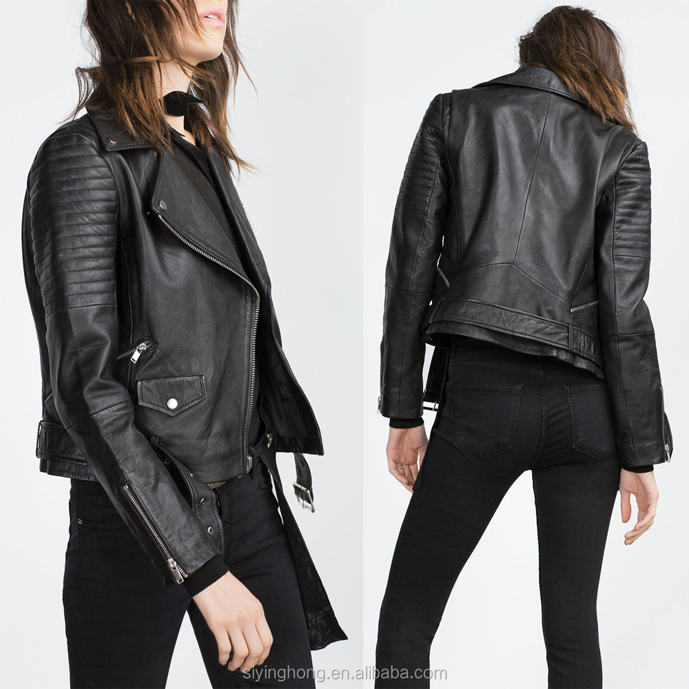 Women Black Leather Motorcycle Jackets Sheepskin Leather