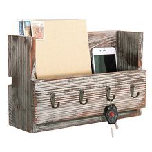 Cheaper Rustic Torched Wood Wall Mounted Mail Holder Organizer with 4 Key Hooks