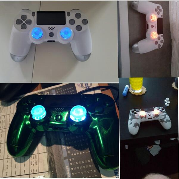 Colorful LED Light Up Thumbsticks Mod Kits With Clear Joystick Cap Sets For PS4 / PS4 Slim / PS4 Pro Controller