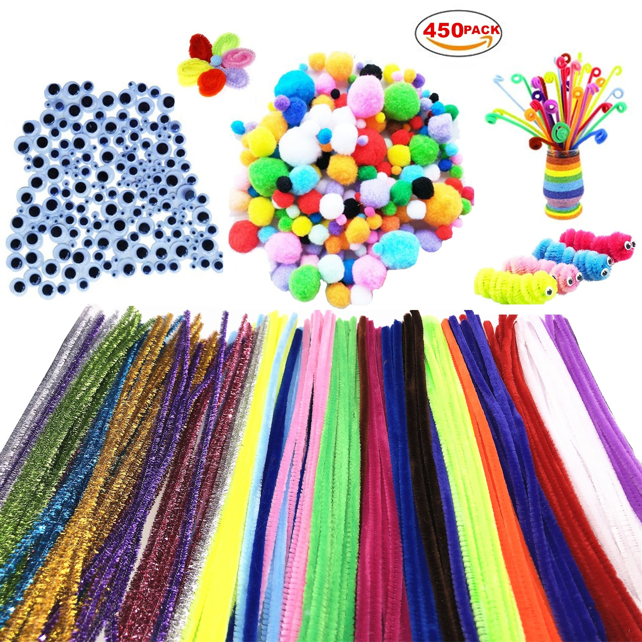 450Pcs Pom Poms Pipe Cleaners Chenille Stems DIY Art Craft Supplies Set , Including 200 Pcs 20 Colors Chenille Stems, 100 Pcs Pom Poms and 150 Pcs 3 Size Wiggle Googly Eyes
