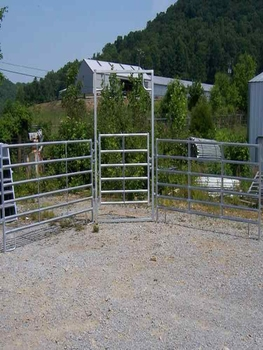 temporary yard fence. Hot Dip Galvanized Temporary Round Horse Yard Fence 6 Rail Panel Walk-Thru Gates Livestock