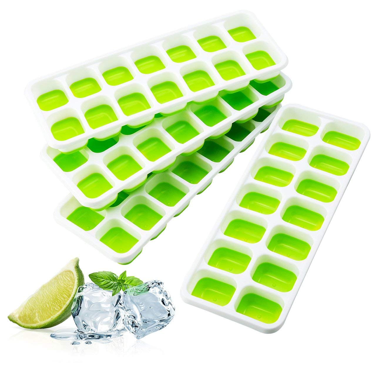 Ice Cube Trays, TOPELEK Easy-Release TPE Trays with Spill-Resistant Lid, LFGB/FDA Certified and BPA Free, 14 Cubes, Stackable and Dishwasher Safe