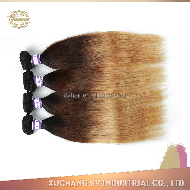 China haie supplier xuchang sv virgin brazilian burgundy ombre hair extension, custom three or two tone color remy human hair