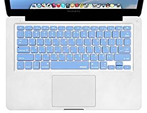 XSKN Hebrew Language Blue Color Silicone Keyboard Skin Cover for MacBook Air 13, Pro 13 15 17 inch, US Layout