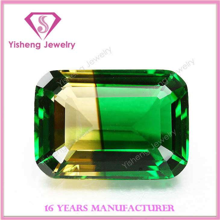 Octagonal Emerald Cut Natural Bottom Multi-color Glass Colombian Emeralds For Sale