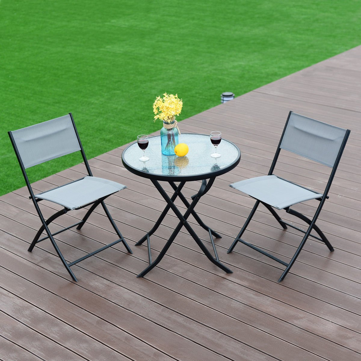 Get Quotations New Mtn G 3 Piece Table Chair Set Metal Tempered Gl Folding Outdoor Patio Garden