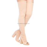 Made in china women open toe pink paddy Lycra with side zipper chunky heel over knee high big size boots