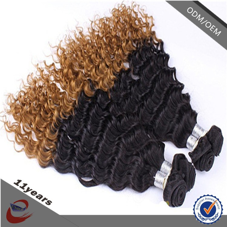 cheap 100% virgin human ombre colored short hair brazilian curly weave